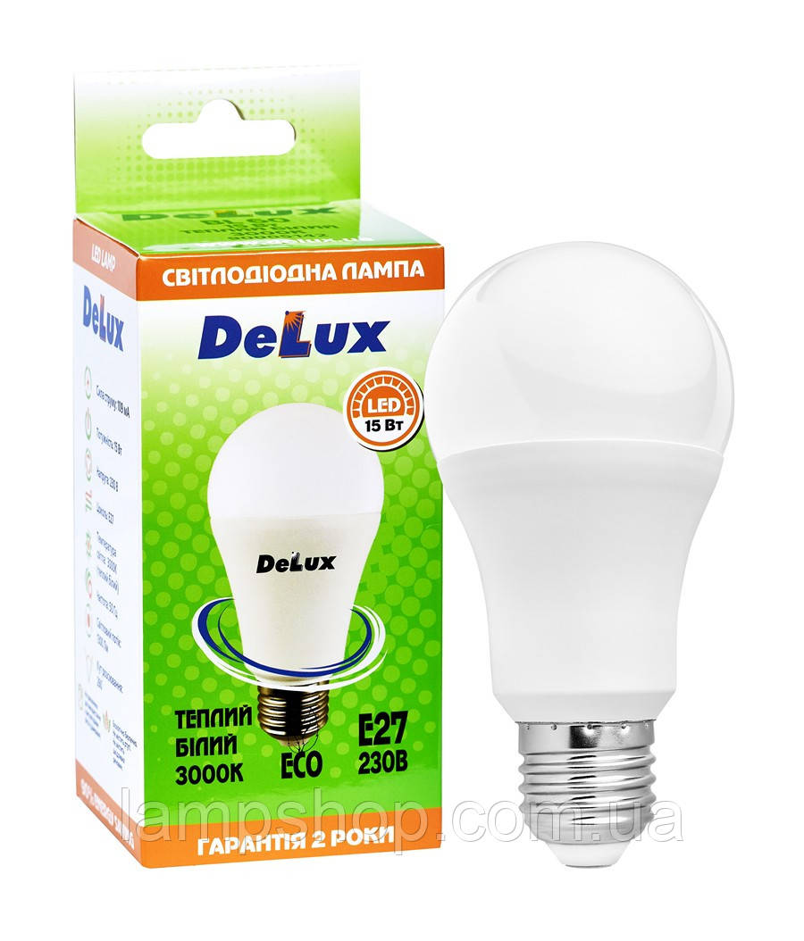 Лампа светодиодная DELUX BL60 15Вт 3000K Е27 теплый белый