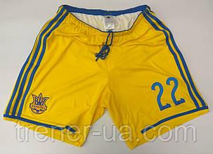 Шорты футбольные сборная Украина в стиле Adidas желтые размер M и L.