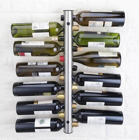Настенная полка для вина из стали, Подвеска-держатель на 12 бутылок, фото 2