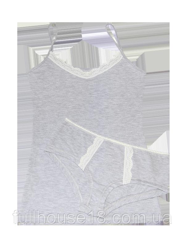 75eac2d086b6e Женский комплект, майка и шорты с кружевом, комплект для сна, серая майка и