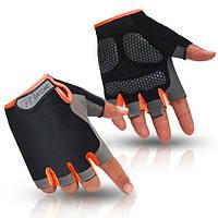 Перчатки велосипедные Huwai гелевые без пальцев Orange