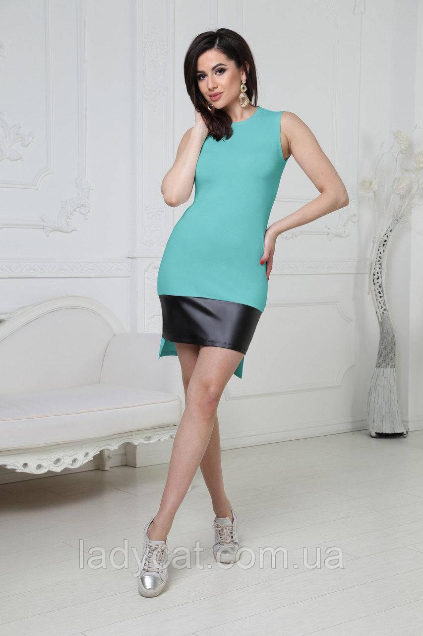 Летнее женское облегающее платье мятного цвета