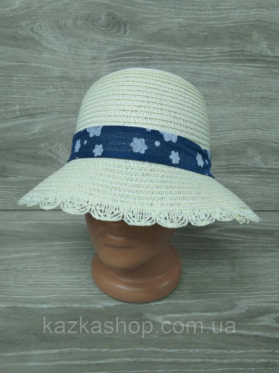 Женская соломенная шляпка с узкими полями, декоративная вставка по кругу тульи, размер 56-58