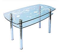 Кухонный стол из стекла КС-2 (900*600) пескоструй