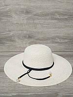 Женская соломенная шляпка с широкими полями, декоративная вставка по кругу тульи, размер 56-58