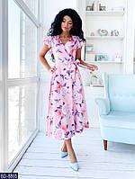 Платье легкое миди розового цвета с цветочным принтом BD-8865