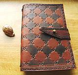 Кожаный блокнот скетч бук ручная работа на застежке подарок, фото 9