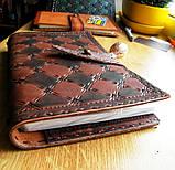 Кожаный блокнот скетч бук ручная работа на застежке подарок, фото 5