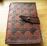 Кожаный блокнот скетч бук ручная работа на застежке подарок, фото 2