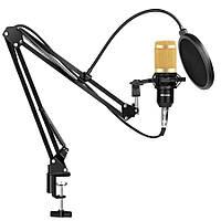 Студийный микрофон Music D.J. M800U со стойкой и ветрозащитой Black/Gold