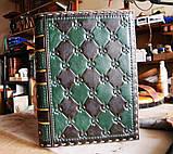 Кожаный блокнот ежедневник винтажный ручной работы оригинальный подарок, фото 6