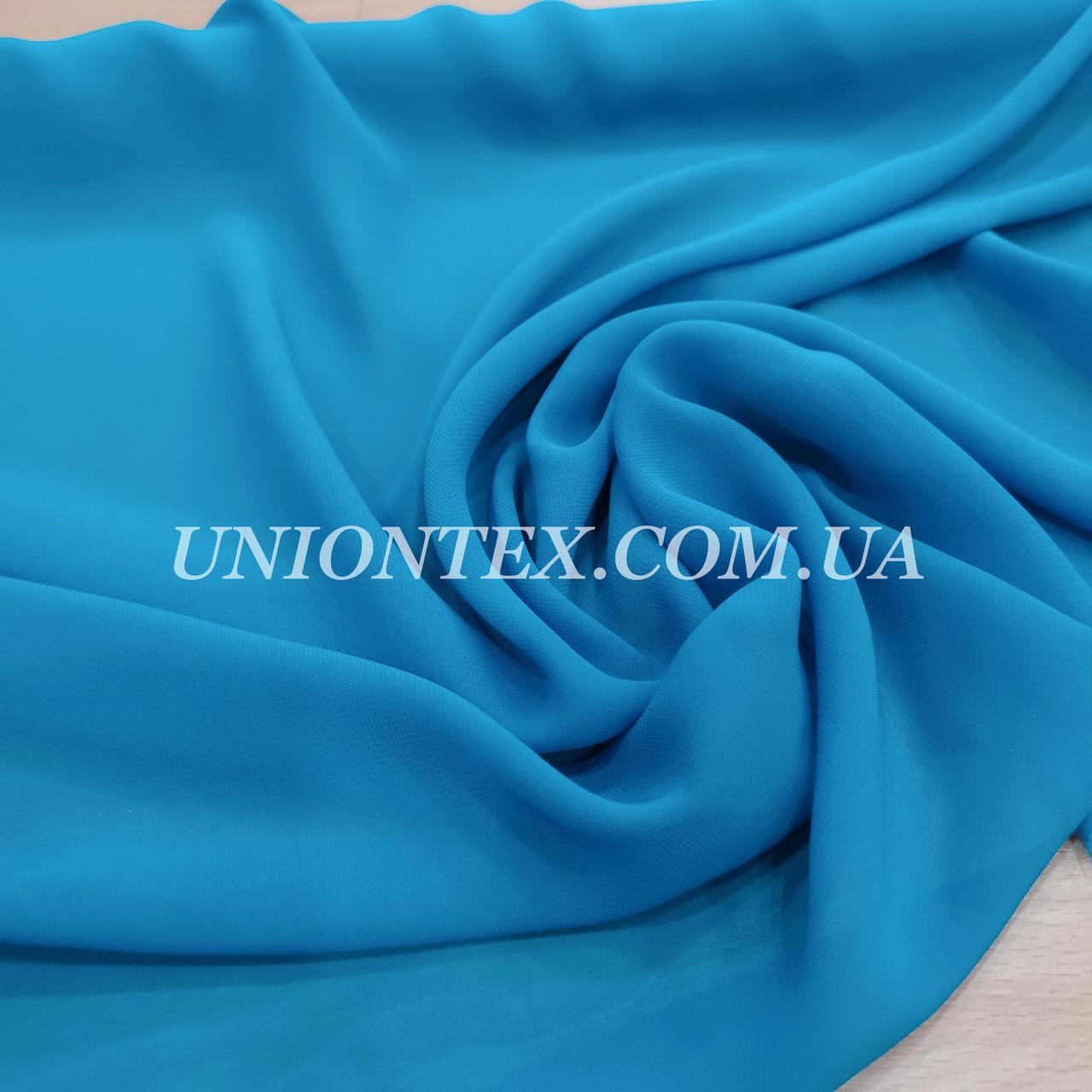 Ткань шифон голубая бирюза