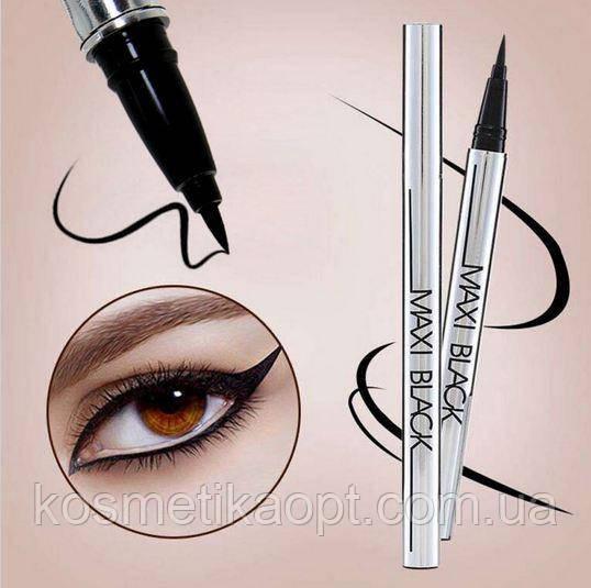 Водостойкая подводка - маркер для глаз  MAXI BLACK Eyeliner