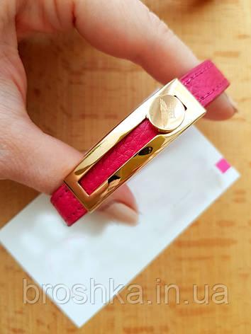 Розовый узкий кожаный браслет ювелирная бижутерия, фото 2