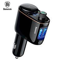 FM трансмиттер модулятор Baseus Lokomotive S-06 Bluetooth c функцией зарядки (Черный, два USB-порта)