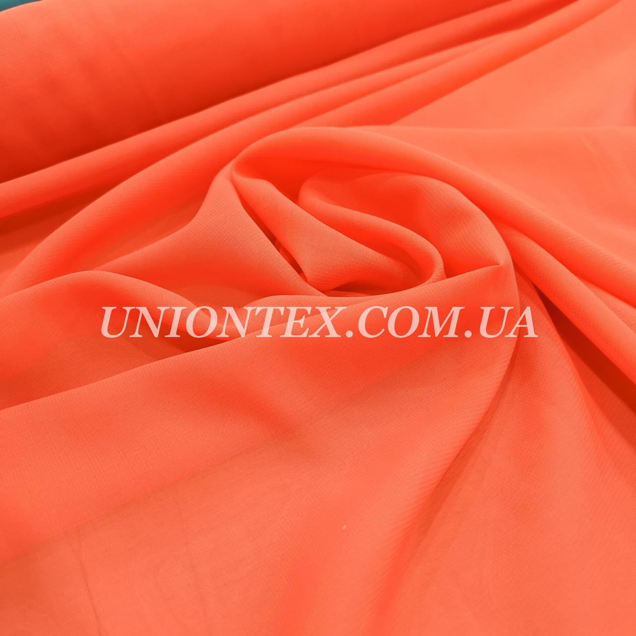 Ткань шифон оранжевый неон