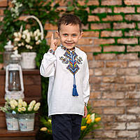 Вишита сорочка для хлопчика з яскравим орнаментом Доля, фото 1
