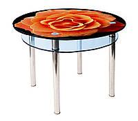 Круглый кухонный стол из стекла КС-3 (900*900) фотопечать