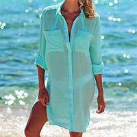 Пляжная туника-рубашка бирюзовая-146-51-1