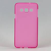 Чехол силиконовый для смартфона Samsung Galaxy A3/A300/A3000 прозрачный розовый мат, фото 1
