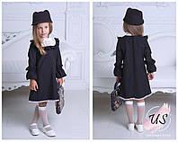Красивое детское школьное платье с белым кружевом., фото 1