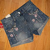 Шорты джинсовые женские,  декор -стразы и бусинки (пришиты). размер 27 и 29. производство- Китай.