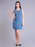 Платье - футляр синее женское летнеее, хлопок, 44-48 р-ры
