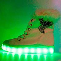 4ba4533e1 Зимние светящиеся кроссовки Led на меху - белые с пультом р.(39, 40