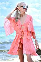 Женская стильная короткая пляжная туника №9196/15 (р.42-48) персик, фото 1