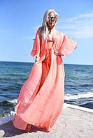 Женская стильная длинная пляжная туника №9195/15 (р.42-48) персик, фото 1