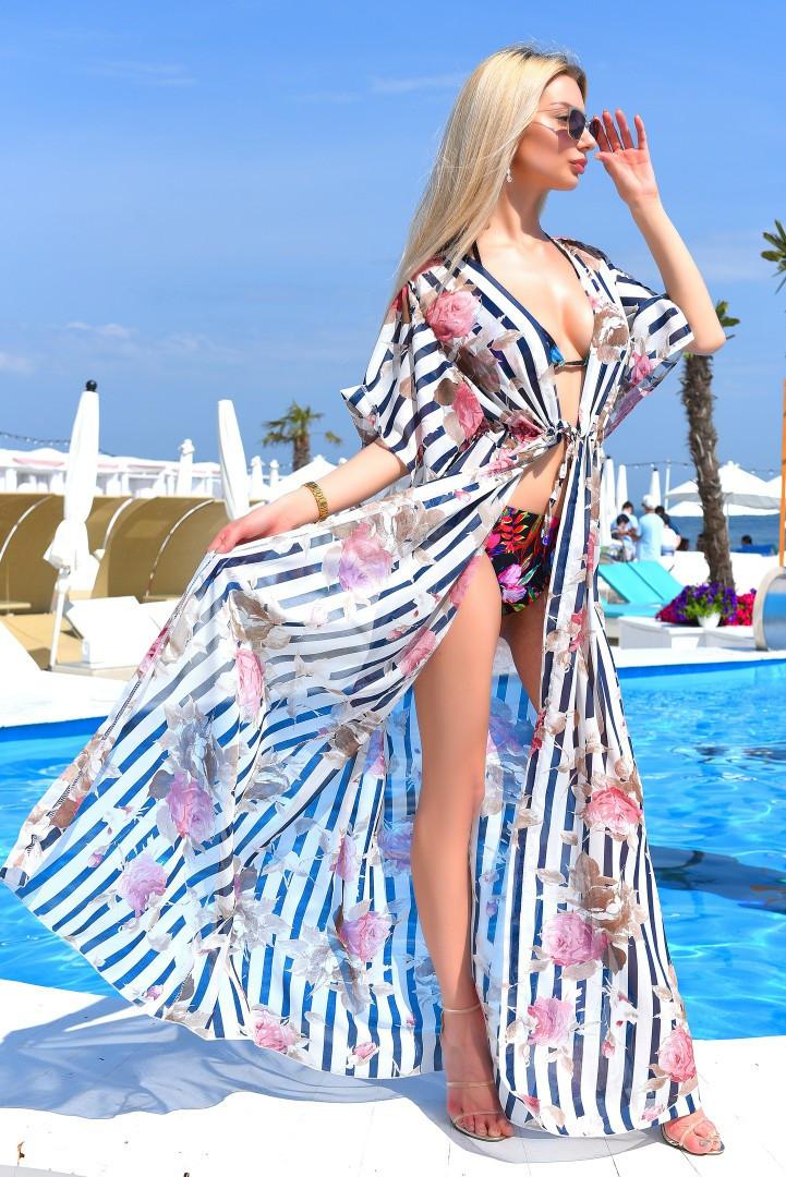1c65e6005dc76 Женская длинная пляжная туника в больших размерах 8056-1