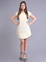 Платье-туника молочное с салатовым рисунком,  вискоза, 44-50 размеры