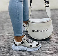 Сумка  Balenciaga бананка трансформер (реплика Баленсиага люкс) white