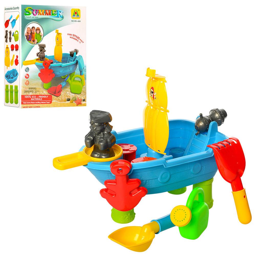 Детский столик-песочница Корабль 38,5-20,5-29см