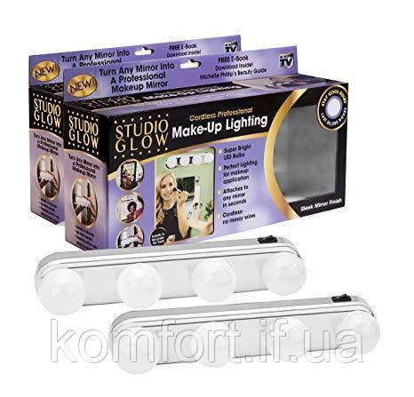 Портативное зеркало для макияжа 4 светодиодные лампы