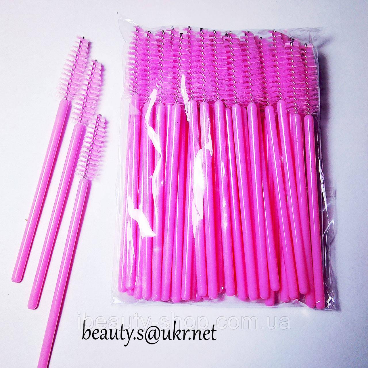 Щетка нейлоновая, розовая, для ресниц и бровей