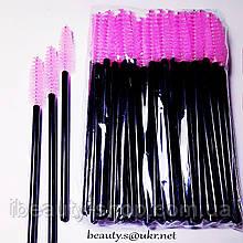 Щетка нейлоновая, для ресниц и бровей, черная ножка-розовый ворс
