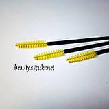 Щетка нейлоновая, для ресниц и бровей, черная ножка-желтый ворс, фото 2