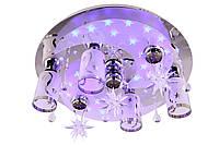 """Люстра потолочная """"Космос"""" с цветной LED подсветкой и автоматическим отключением с пультом (17х50х50 см.) Хром YR-5242/4+3"""