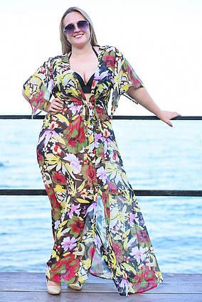 e85a20e255f05 Женская длинная пляжная шифоновая туника в больших размерах 8056-64