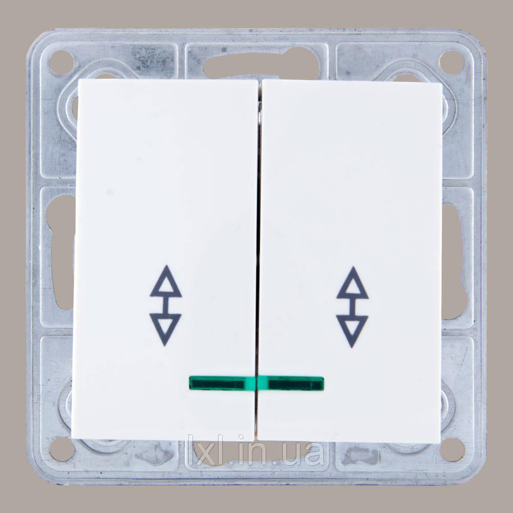 Выключатель проходной двойной с подсветкой  белый TESLA