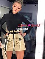 Юбка летняя стильная с карабинами, короткая  ровная, ткань костюмка, бежевая, черная, фото 1