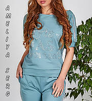 Летний турецкий женский спортивный костюм с лампасами №8897 серо-голубого