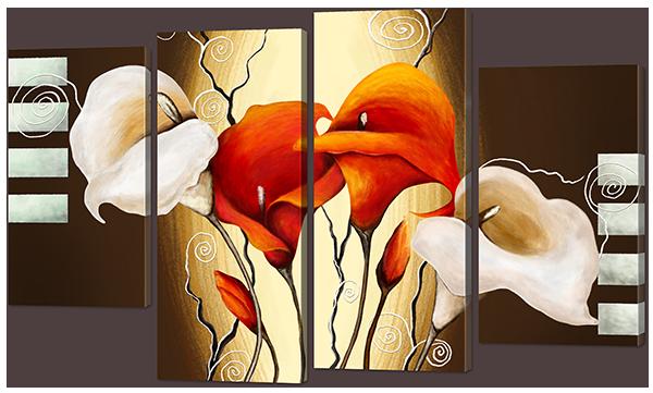 Модульная картина Interno Искусственный холст Красные и белые цветы 140x89см (Z901XL)