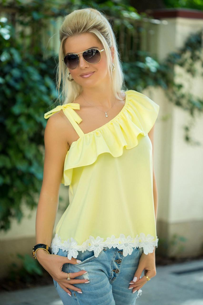 Желтая Блузка на одно плечо