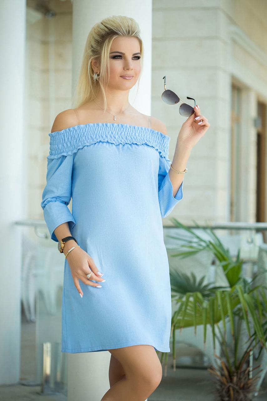Вероник Платье льняное голубое