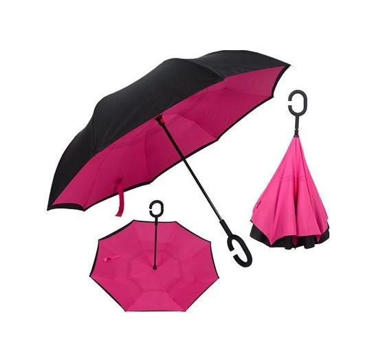 Ветрозащитный зонт Up-Brella антизонт Зонт обратного сложения (Малиновый)