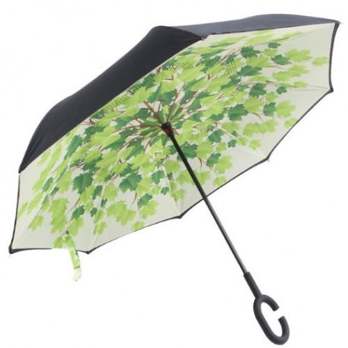 Ветрозащитный зонт Up-Brella антизонт Зонт обратного сложения (Листья)