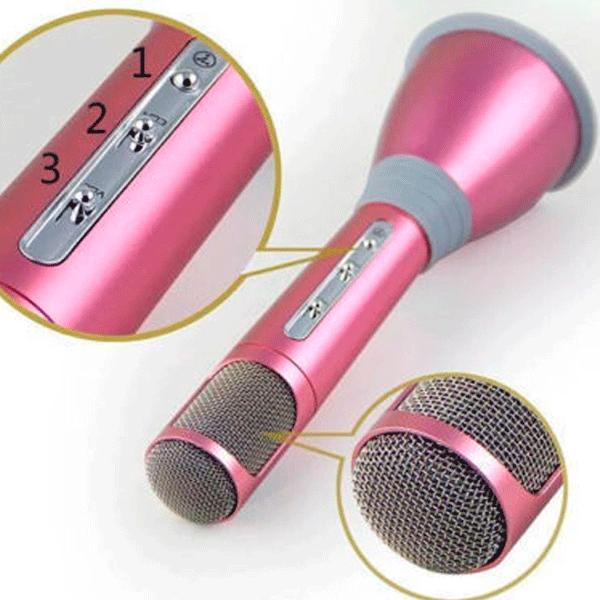 Беспроводной микрофон К-068 bluetooth для караоке / Tuxun k068 с динамиком (Розовый)