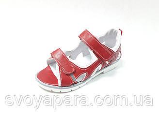 Ортопедические сандалии унисекс красные кожаные (0074)
